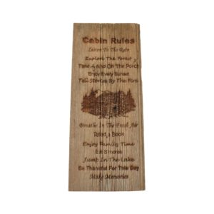 Engraved barnwood sign.