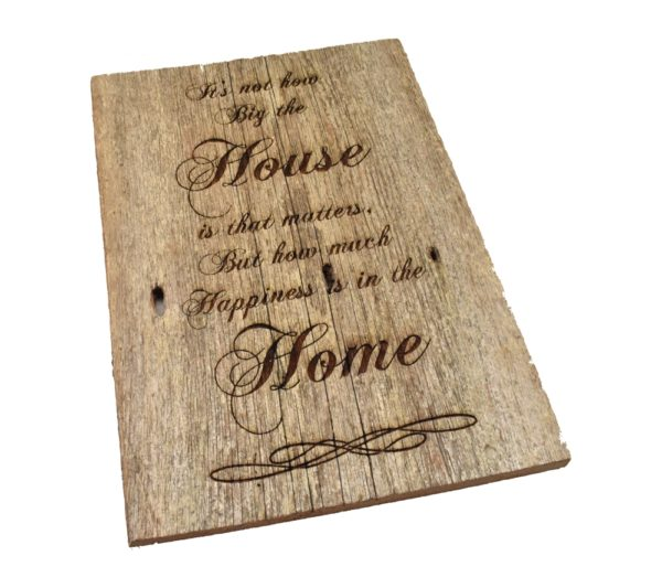Engraved reclaimed barnwood sign.
