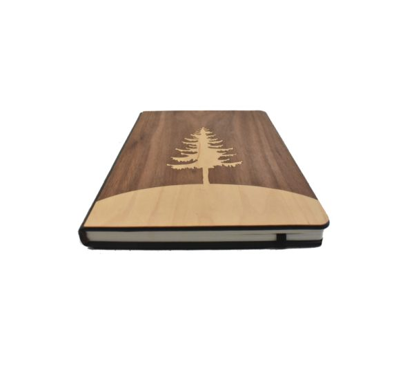 Wooden Notebook made from different colored woods making a tree design.