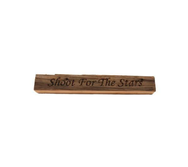 "Reclaimed barn wood block sign that reads, ""Shoot For The Stars""."