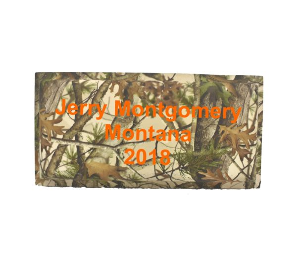 Small rectangle name plate in standard camo.