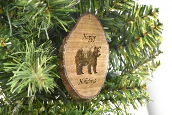 Happy Holidays Bear Rustic Wood Ornament