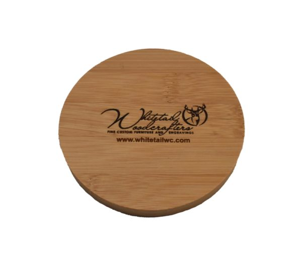 Custom engraved bamboo coaster.