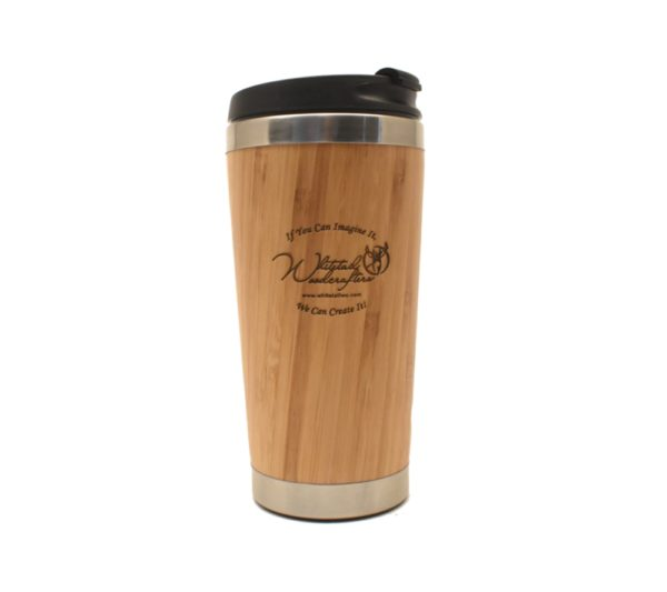 Custom engraved bamboo travel mug.