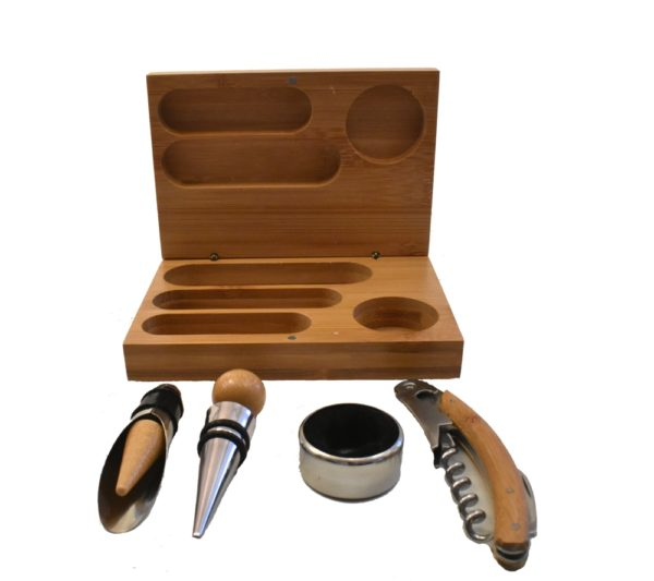 Wine tool set and wooden box.