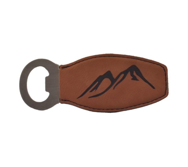 Engraved leather bottle opener.