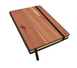 Cedar wood notebook cover.