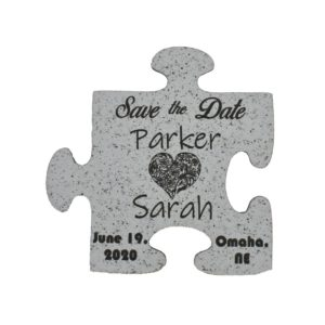 Engraved Puzzle Piece Shape Wedding Save the Date
