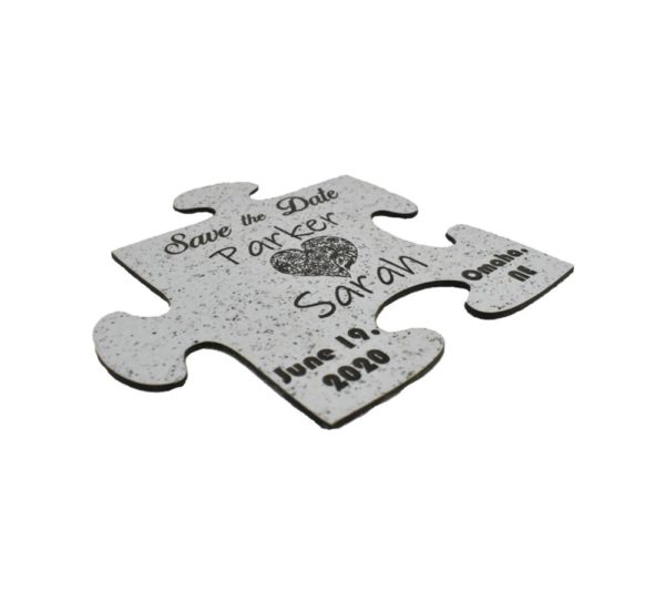 Engraved Wedding Save the Date Puzzle Piece Shape