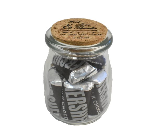 Love and Thanks Engraved Wedding Favor Jar with Cork Lid